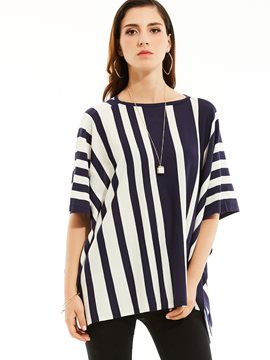 Ericdress Vertical Stripe Color Block Cape