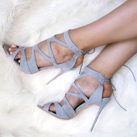 Ericdress Gray Cutout Back Lace Up Stiletto Sandals