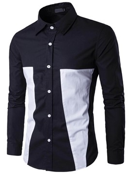 Ericdress Color Block Patched Long Sleeve Casual Men's Shirt