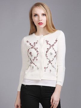 Ericdress Slim Diamonds Cardigan Knitwear
