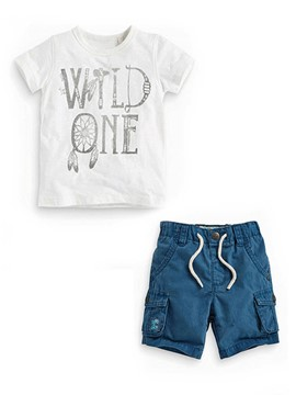 Ericdress Simple T-Shirt Shorts 2-Pcs Boys Suit