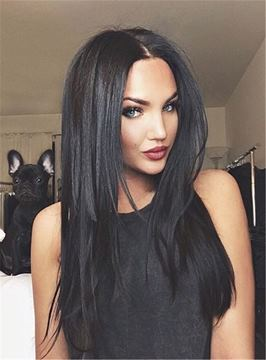 Ericdress Sexy Natural Black Center Part Layered Cut Long Straight Synthetic Hair Lace Front Cap Wigs 18 Inches