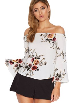 Ericdress Slash Neck Floral Flare Sleeve Blouse