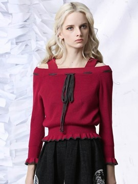 Ericdress Wide Shoulder Strap Defined Waist Knitwear
