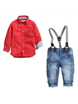 Ericdress Shirt & Suspenders Pants 2-Pcs Boys Outfit