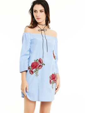 ericdress slash Hals Blumen embroideried Patchwork Bluse