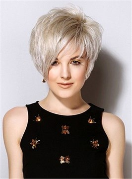 Ericdress Popular Short Straight Haircuts Synthetic Hair Side Swept Friinges Capless Wigs 8 Inches