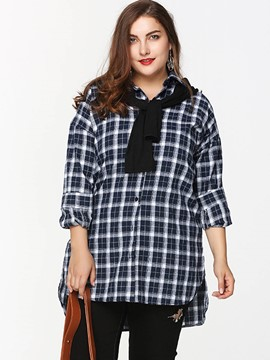 Ericdress Oversized Plaid Single-Breasted Blouse