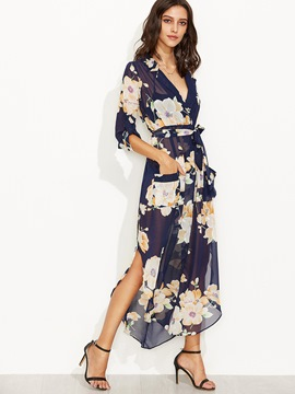 Ericdress Floral Print V-Neck Split Maxi Dress