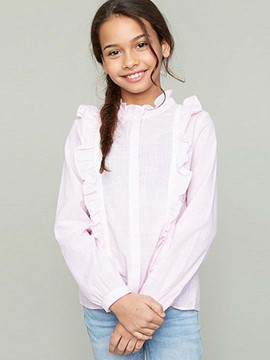 Ericdress Ruffled Collar Stripe Girls Shirt