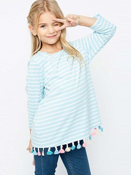 Ericdress Stripe Tassel Loose Girls T-Shirt