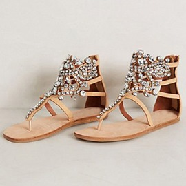 Bohemian Rhinestones Decorated Flat Sandals