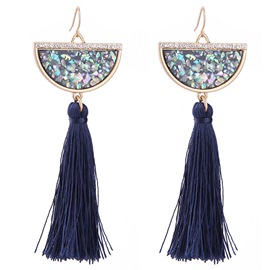 Ericdress Long Semi Round Artificial Gemstone Tassels Earrings