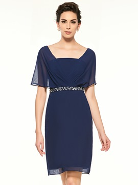 Ericdress Square Neckline Beaded Short Sleeves Sheath Knee Length Mother Of The Bride Dress