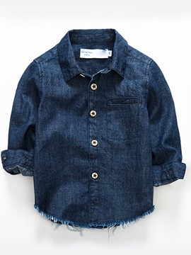Ericdress Denim Lapel Button Boys Shirt