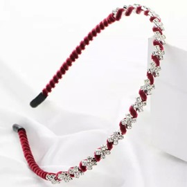 Ericdress Rhinestone Inlaid Claret Thin Hairband