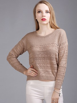 Ericdress Solid Color Crochet Knitwear