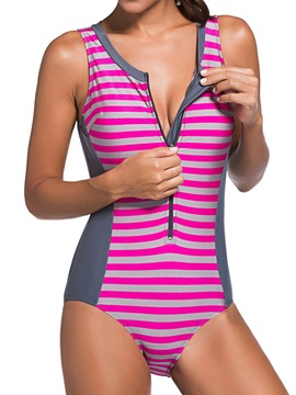 Ericdress Color Block Stripe Zipper Monokini