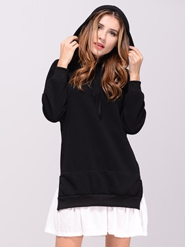 Ericdress Loose Color Block Patchwork Plus Size Hoodie
