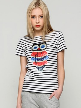 Ericdress Slim Stripe Cartoon T-Shirt