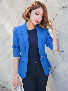 Ericdress Solid Color One-Button Casual Blazer