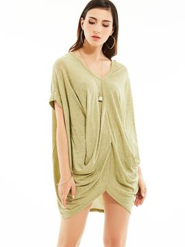 Ericdress Loose V-Neck Batwing Sleeves Tunic T-shirt