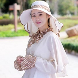 Ericdress Dots Printed Face Covering Design Sun Hat
