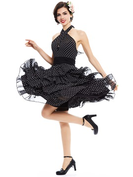 Ericdress Halter Polka Dots Layered A Line Dress