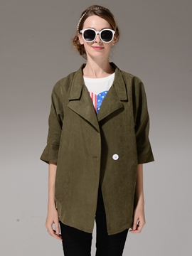 Ericdress Lapel Solid Color Half Sleeve Coat