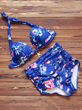 Ericdress Color Block Floral Print High-Waist Bikini Set