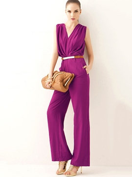 Ericdress V-Neck Sleeveless Belt Women's Jumpsuits