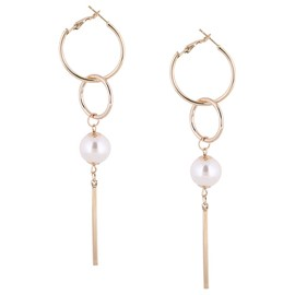 Ericdress Large Circle Long Imitation Pearl Tassels Earrings