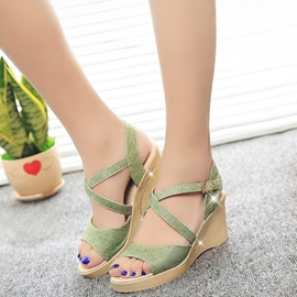 Ericdress Sequins Cross Strap Wedge Sandals