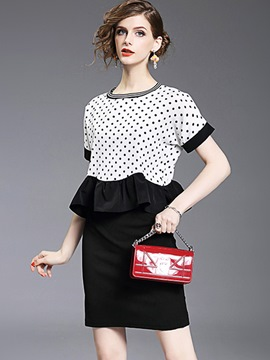 Ericdress Polka Dots Patchwork Falbala Casual Dress