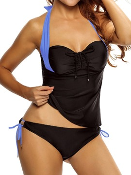 Ericdress Simple Halter Lace-Up Black Tankini