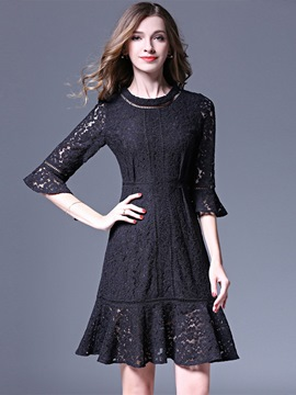 Ericdress Hollow Patchwork Falbala Lace Dress
