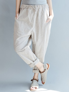 Ericdress White Striped Women's Pants