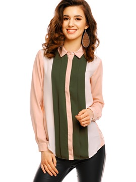 Ericdress Lapel Color Block Blouse