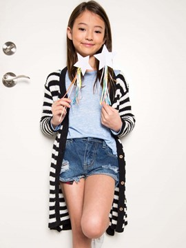 Ericdress Stripe Single-Breasted V-Neck Girls Cardigan
