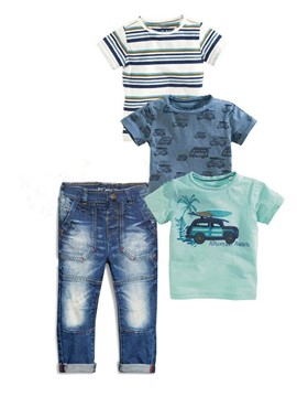Ericdress Cartoon Stripe T-Shirt Pants Boys Outfits