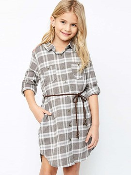 Ericdress Plaid Lace-Up Mid-Length Girls Shirt