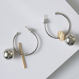 Ericdress Asymmetric Metal Circle and Ball Earrings