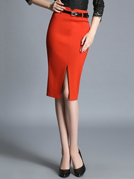 Ericdress High Waisted Red Belt Women's Skirts