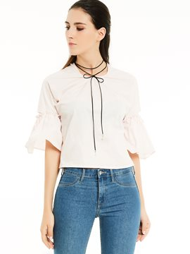 Ericdress Round Neck Flare Sleeves Blouse