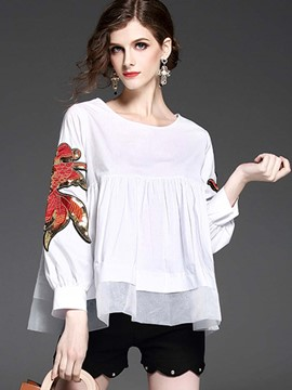 Ericdress Loose Plain Embroidery Blouse