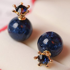 Ericdress Two-Sided Dark Blue Bead Stud Earrings