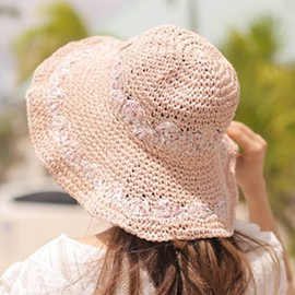 Ericdress Foldable Double Rows Floral Design Straw Hat