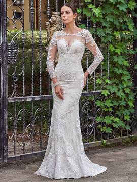 Ericdress Scoop Long Sleeves Mermaid Lace Wedding Dress