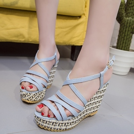 Ericdress Denim Blue Wedge Sandals
