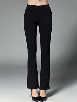 Ericdress High Waisted Black Women's Pants